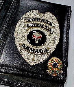 Distintivo Porta Funcional Agente De Escolta Armada Folheado À Prata + Bótom