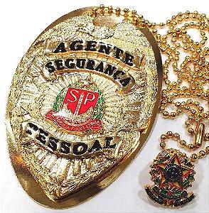 Distintivo Agente De Segurança Pessoal Folheado A Ouro + Bótom