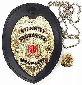 Distintivo Agente De Segurança Pessoal Couro Folheado A Ouro + Bótom