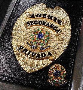Distintivo Carteira Couro Agente De Segurança Privada Folheado A Ouro + bótom