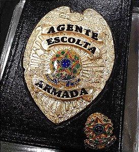 Distintivo Carteira Couro Agente De Escolta Brinde Bótom Folheado A Ouro