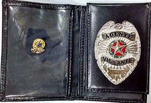 Distintivo Porta Funcional Agente Vigilante Folheado À Prata Brinde Bótom