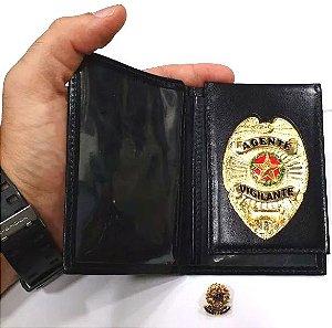 Distintivo Porta Funcional Agente Vigilante Folheado A Ouro Brinde Bótom