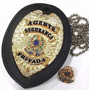 Distintivo Agente Segurança Privada Couro Folheado + Bótom
