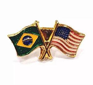 Bótom Pim Broche Pin Bandeira Brasil X Estados Unidos EUA