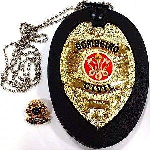 Distintivo Bombeiro Civil Couro Folheado A Ouro Brinde Bótom