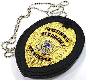 Distintivo Agente De Segurança Pessoal Couro Folheado A Ouro Brinde Bótom