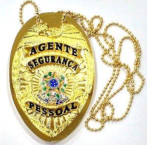 Distintivo Agente De Segurança Pessoal Folheado Ouro Brinde Bótom