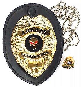 Distintivo Agente De Segurança Couro Folheado Brinde Bótom