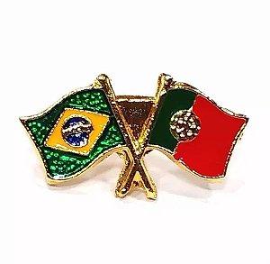 Bótom Pim Broche Bandeira Brasil X Portugal Folheado A Ouro