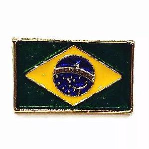 Pim Bótom Broche Bandeira Do Brasil 17mm Folheado A Ouro