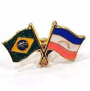 Pim Bótom Broche Bandeira Do Espírito Santo Folheado A Ouro