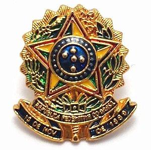 Pim Bótom Broche Brasão Da República Brasil Folheado A Ouro