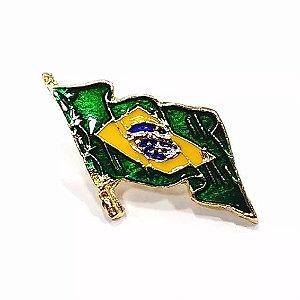 Pim Bótom Broche Bandeira Do Brasil 32mm Folheado A Ouro