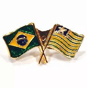 Pim Bótom Broche Bandeira Do Estado Do Piauí Folheado A Ouro