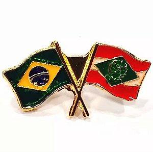 Pim Bótom Broche Bandeira Estado De Santa Catarina Folheado A Ouro