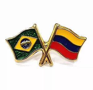 Bótom Pim Broche Bandeira Brasil X Colômbia Folheado A Ouro