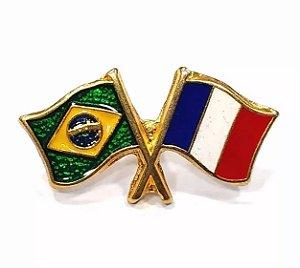 Bótom Pim Broche Bandeira Brasil X França Folheado A Ouro