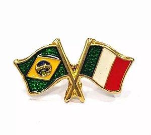 Bótom Pim Broche Bandeira Brasil X Itália Folheado A Ouro