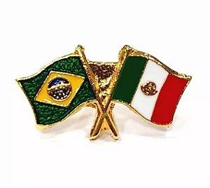 Bótom Pim Broche Bandeira Brasil X México Folheado A Ouro