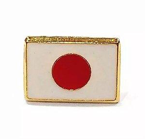 Bótom Pim Broche Bandeira Japão 13x9mm Folheado A Ouro