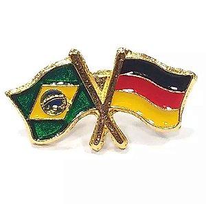 Bótom Pim Broche Bandeira Brasil X Alemanha Folheado A Ouro