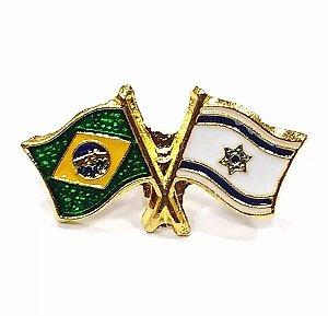 Bótom Pim Broche Bandeira Brasil X Israel Folheado A Ouro