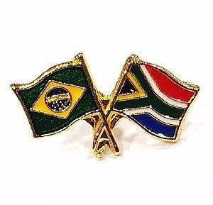 Bótom Pim Broche Bandeira Brasil X África Do Sul Folheado