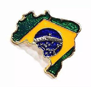 Pim Bótom Broche Mapa Do Brasil 18mm Folheado A Ouro