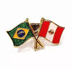Bótom Pim Broche Bandeira Brasil X Peru Folheado A Ouro