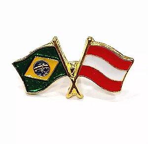 Bótom Pim Broche Bandeira Brasil X Áustria Folheado A Ouro