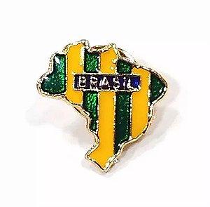 Pim Bótom Broche Mapa Do Brasil 18mm Folheado A Ouro Qualidade