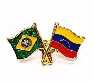 Bótom Pim Broche Bandeira Brasil X Venezuela Folheado A Ouro