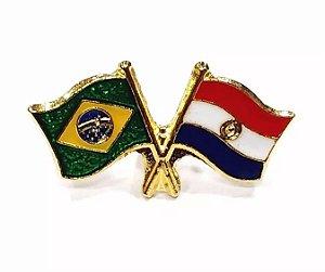 Bótom Pim Broche Bandeira Brasil X Paraguai Folheado A Ouro