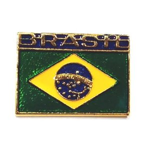 Pim Bótom Broche Bandeira Do Brasil 26mm Folheado A Ouro