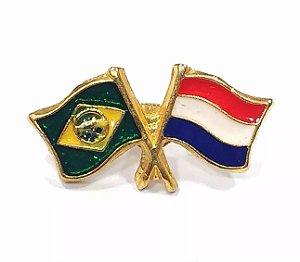 Pim Bótom Broche Bandeira Brasil X Holanda Folheado A Ouro