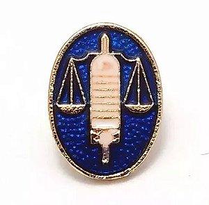 Pim Bótom Broche Azul Folheado Direito Balança Justiça Advogados