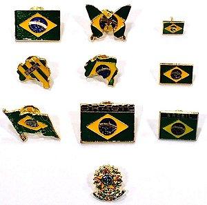 Coleção C/ 10 Bótons Pins Tema Brasil Bandeira Mapa Souvenir