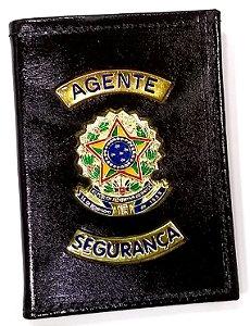 CARTEIRA DE COURO PORTA FUNCIONAL AGENTE DE SEGURANÇA BRINDE BÓTOM