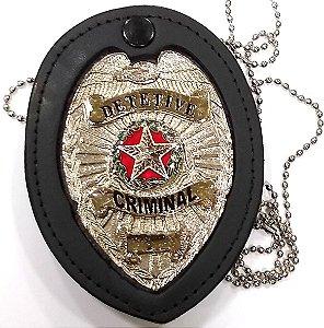 Distintivo Detetive Criminal Couro Folheado À Prata Brinde Bótom