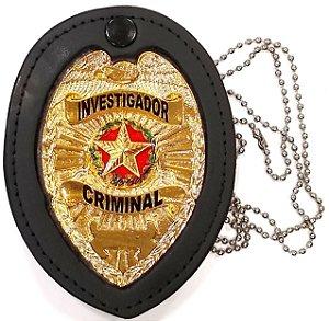 Distintivo Investigador Criminal Couro Folheado A Ouro Brinde Bótom