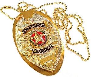 Distintivo Investigador Criminal Folheado A Ouro Brinde Bótom