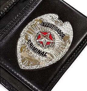 Distintivo Carteira Couro Investigador Criminal Folheado À Prata Brinde Bótom