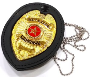Distintivo Detetive Criminal Couro Folheado A Ouro Brinde Bótom