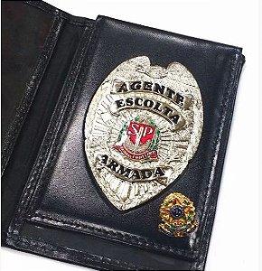 Distintivo Carteira Porta Funcional Couro Agente De Escolta Armada Folheado À Prata Brinde Bótom