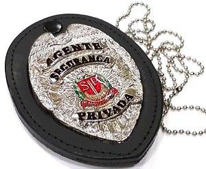 Distintivo Agente Segurança Privada São Paulo Couro Folheado À Prata Brinde Bótom