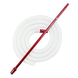 Piteira De Alumínio Anubis Slim Vermelho C/ Refil Lavável Branco