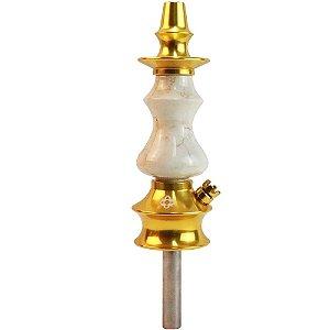 Stem Narguile Pequeno Amazon Hookah Prime Metal Dourado Madeira Marmorizado Boticcino