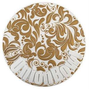 Tapete Union Bowl  Branco com Dourado- Base protetora