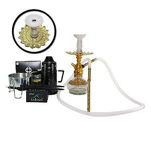 Narguile Anubis Hookah Kit completo - Dourado com Branco